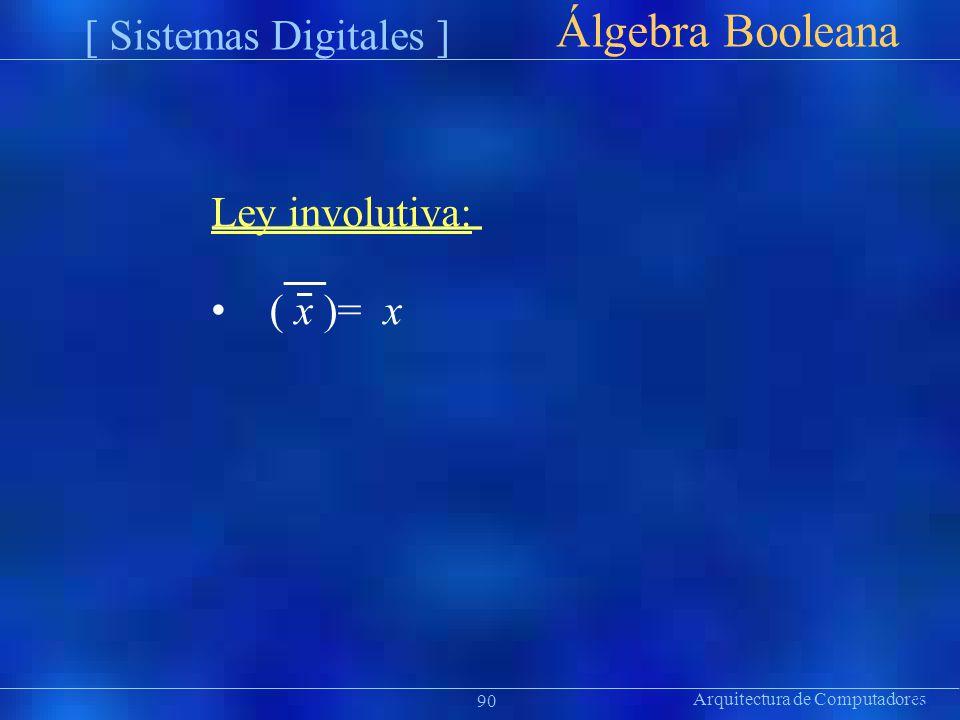 Álgebra Booleana [ Sistemas Digitales ] • ( x )= x Ley involutiva: ion